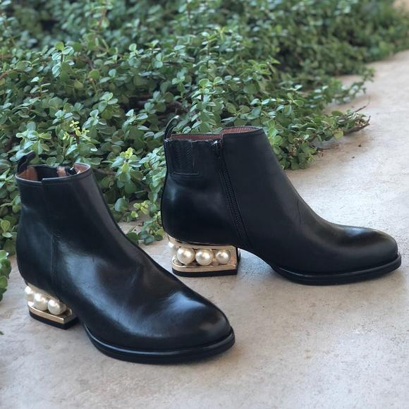 black booties with pearl heel